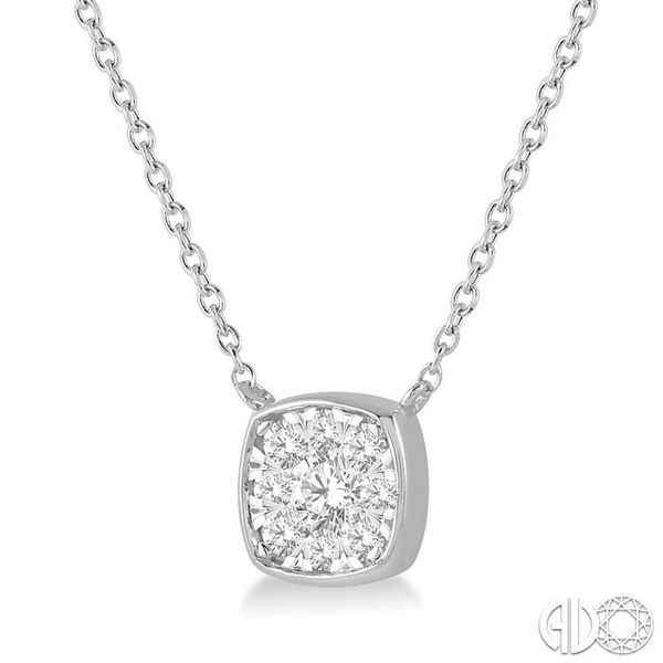1/4 Ctw Cushion Shape Pendant Lovebright Diamond Necklace in 14K White Gold Image 2 Grogan Jewelers Florence, AL