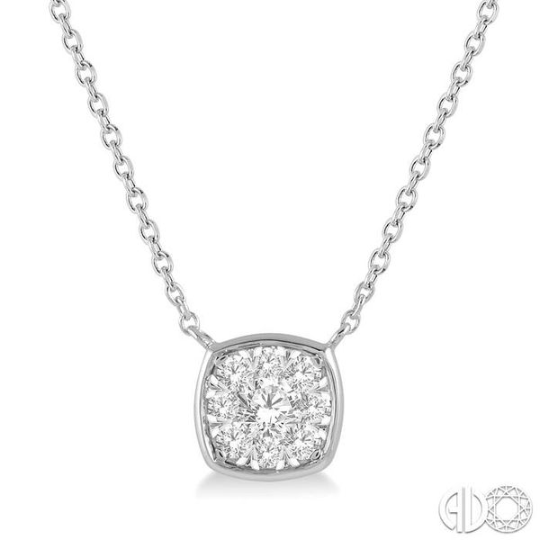 1/4 Ctw Cushion Shape Pendant Lovebright Diamond Necklace in 14K White Gold Grogan Jewelers Florence, AL