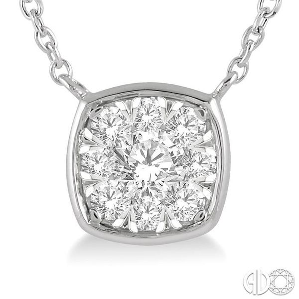 1/4 Ctw Cushion Shape Pendant Lovebright Diamond Necklace in 14K White Gold Image 3 Grogan Jewelers Florence, AL