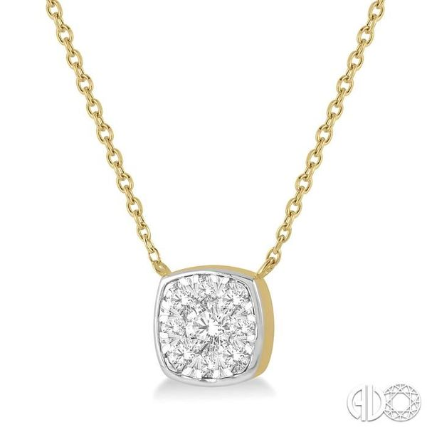 1/3 Ctw Cushion Shape Pendant Lovebright Diamond Necklace in 14K Yellow and White Gold Image 2 Grogan Jewelers Florence, AL