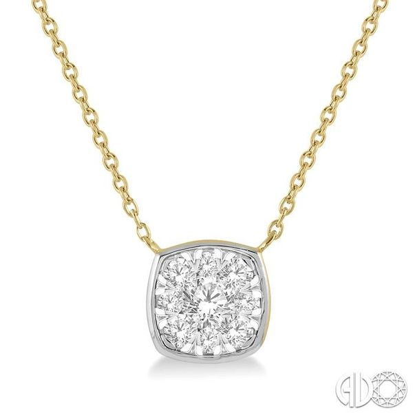 1/3 Ctw Cushion Shape Pendant Lovebright Diamond Necklace in 14K Yellow and White Gold Grogan Jewelers Florence, AL