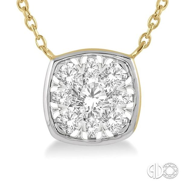 1/3 Ctw Cushion Shape Pendant Lovebright Diamond Necklace in 14K Yellow and White Gold Image 3 Grogan Jewelers Florence, AL