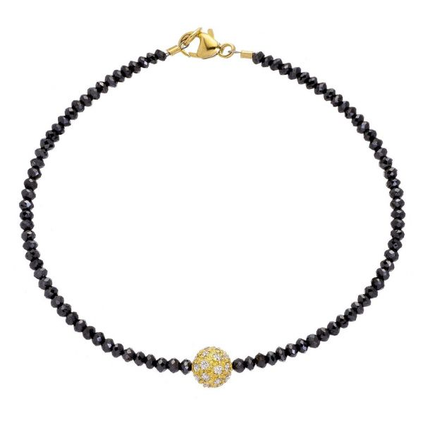 The Noir Disco Bracelet with Yellow Gold Diamond Ball and Black Diamonds Grogan Jewelers Florence, AL