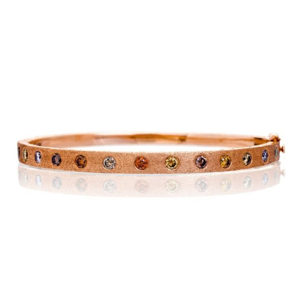 The Dunes Wide Bangle with Multi-colored Diamonds in Brushed Rose Gold Grogan Jewelers Florence, AL
