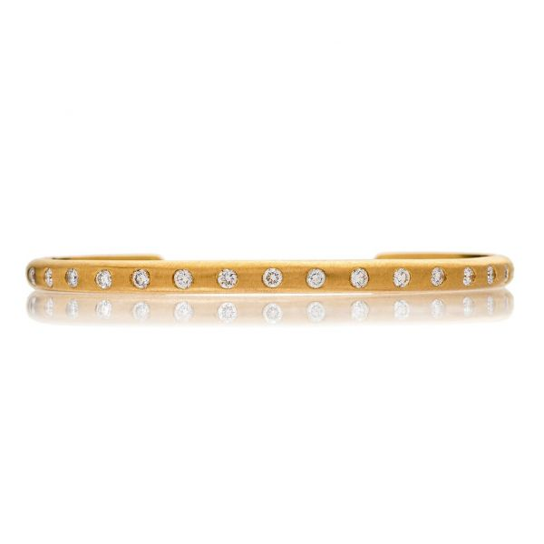 The Dunes Cuff with White Diamonds in Yellow Gold Grogan Jewelers Florence, AL