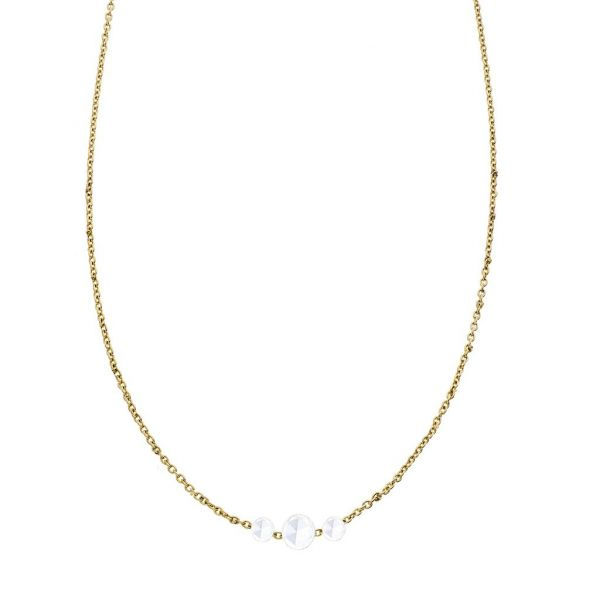 The Cien 3 Stone Necklace in Yellow Gold Grogan Jewelers Florence, AL