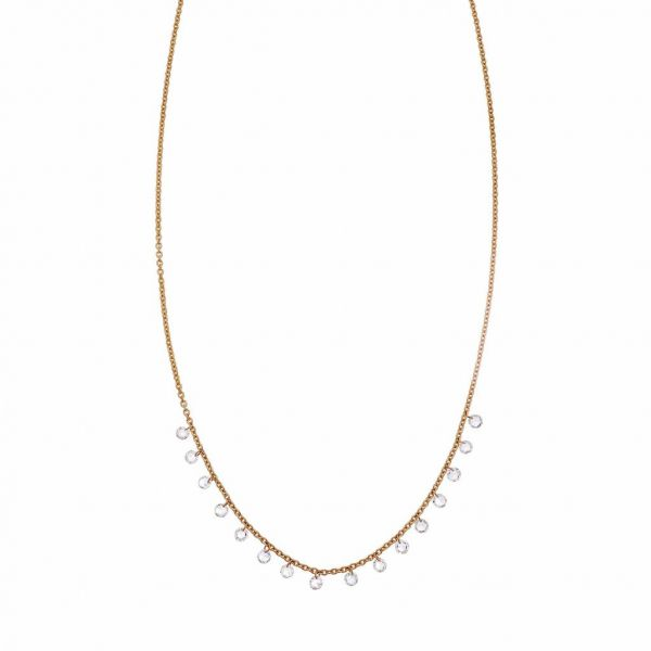 The Cien Long Drop Necklace with White Diamonds in Rose Gold Grogan Jewelers Florence, AL