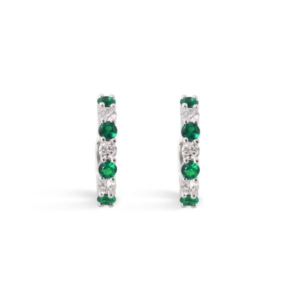 Emerald and Diamond Huggie Earrings Grogan Jewelers Florence, AL