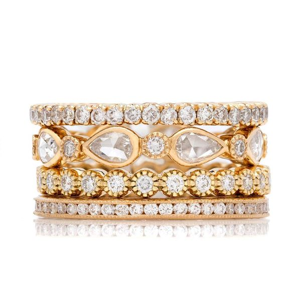 No. 24 Stacked Bands with White Diamonds in Yellow Gold Grogan Jewelers Florence, AL
