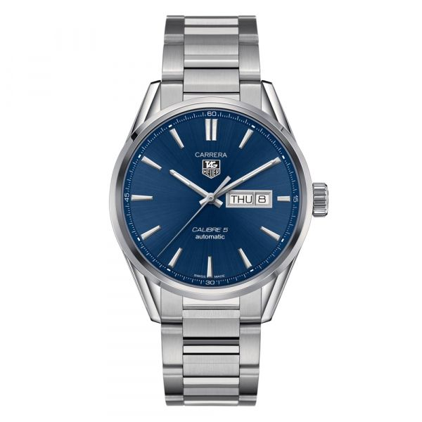 TAG Heuer Carrera Day Date 41mm Stainless Steel Blue Dial Watch Grogan Jewelers Florence, AL