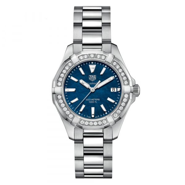 TAG Heuer Aquaracer 35mm Blue Mother-of-Pearl Diamond Bezel Watch Grogan Jewelers Florence, AL
