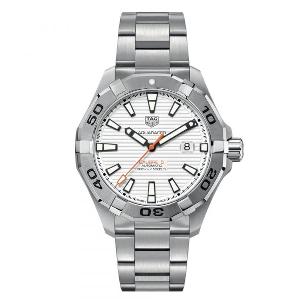 TAG Heuer Aquaracer 43mm Stainless Steel Automatic White Watch Grogan Jewelers Florence, AL