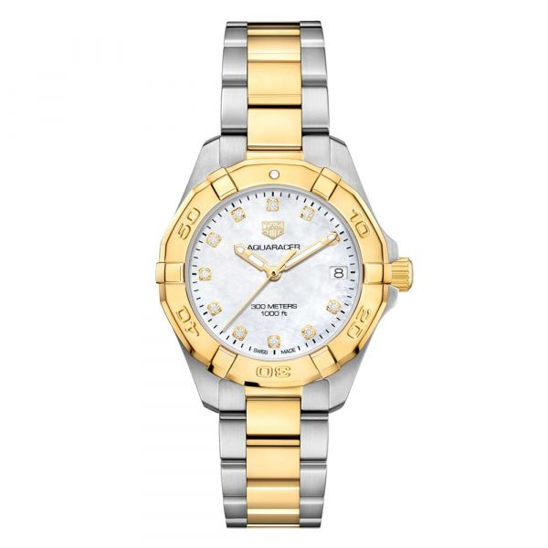 TAG Heuer Aquaracer Quartz Steel and Gold Mother of Pearl Diamond Dial Grogan Jewelers Florence, AL