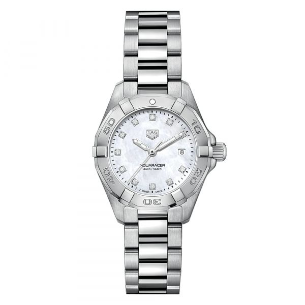 TAG Heuer Aquaracer Quartz 27mm Stainless Steel Mother of Pearl Diamond Dial Grogan Jewelers Florence, AL