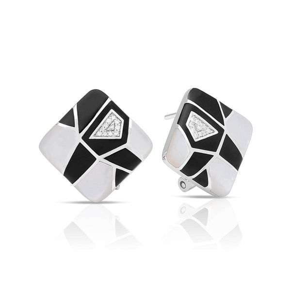 Montage Collection - Black Italian Enamel and White Mother-of-pearl Earrings Jacqueline's Fine Jewelry Morgantown, WV