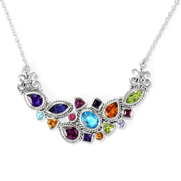 "Sterling Silver Multi Gemstone ""Serendipity Necklace"""