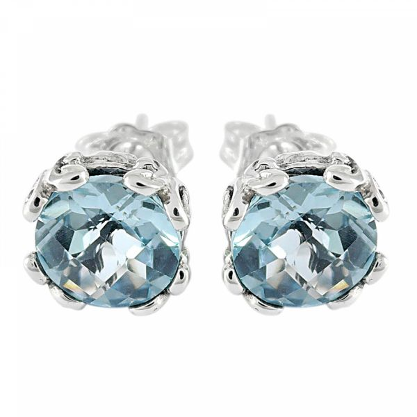 "Sterling Silver 7mm Round Blue Topaz ""Glow Studs"""