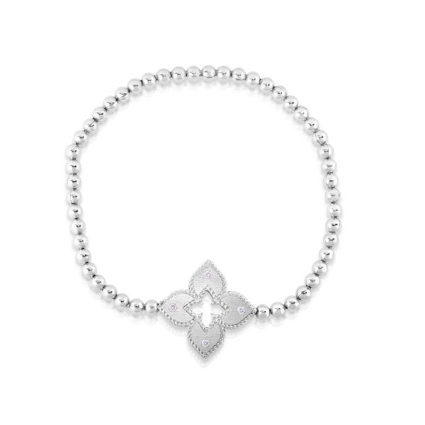 Venetian Princess Stretch Bracelet with Diamonds in White Gold