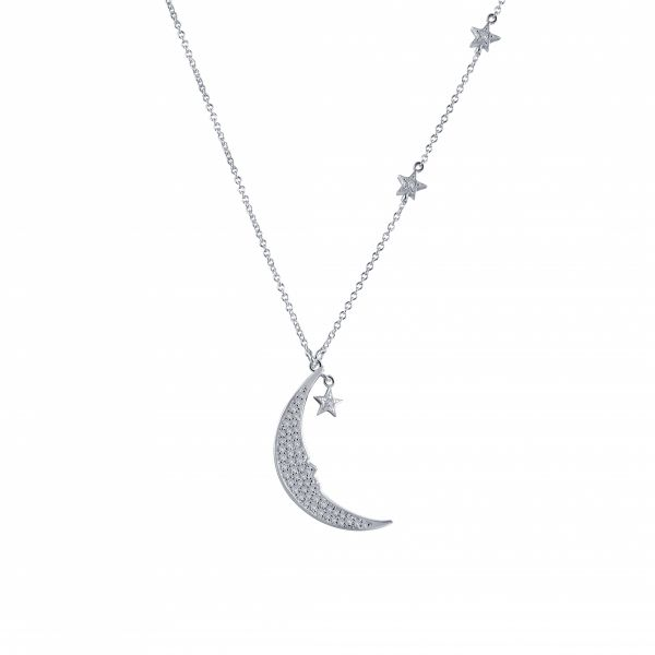 Moon and Star Necklace, Sterling Silver