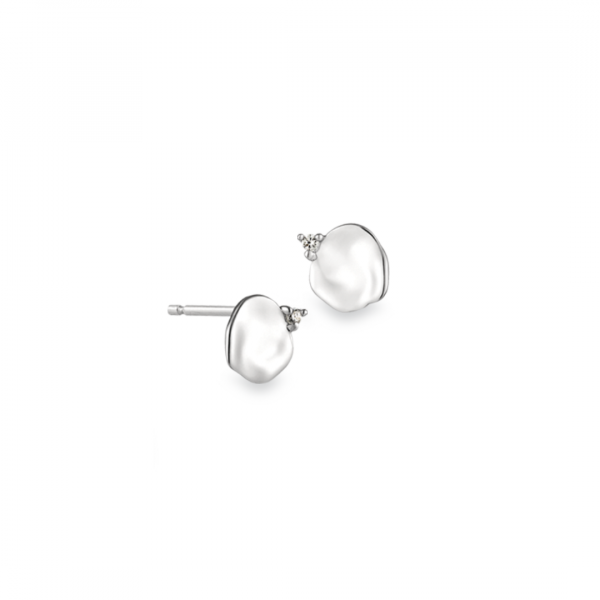 Silver Crush Disc Stud Earrings