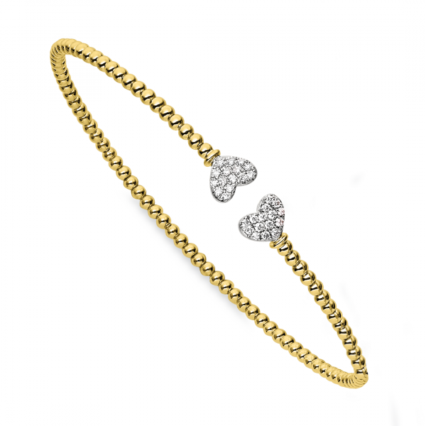 Yellow Gold Bujukan Split Cuff Bracelet with White Gold Pavé Diamond Hearts