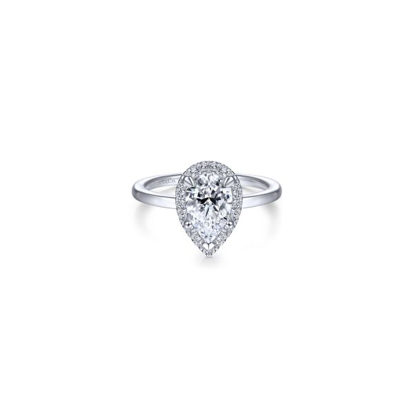 Front - Pear Shape Halo Diamond Engagement Ring