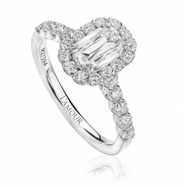 Engagement Ring with Diamond Center