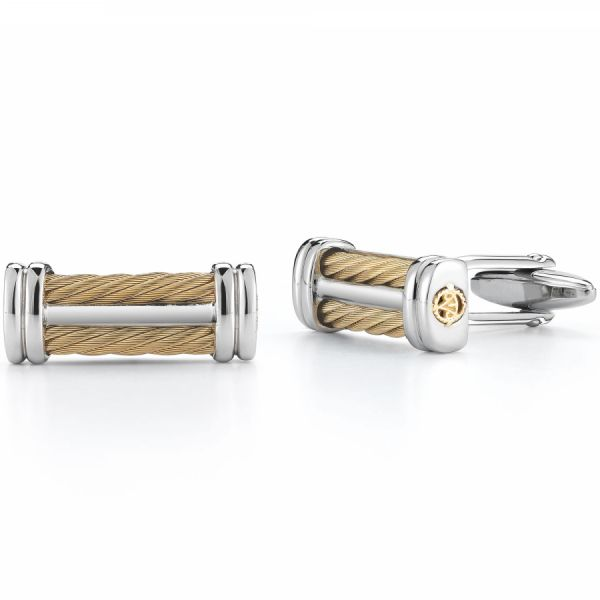 Yellow Gold, Stainless Steel and Yellow Cable Cufflinks Jae's Jewelers Coral Gables, FL