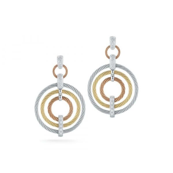 Classique Tri-Color Open Circle Earrings Jae's Jewelers Coral Gables, FL