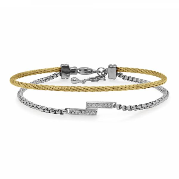 14 Karat White Gold and Yellow and Grey Stainless Steel Bracelet Jae's Jewelers Coral Gables, FL