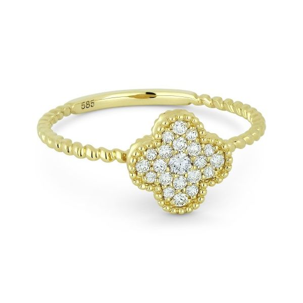 Yellow Gold Diamond Clover Ring Jae's Jewelers Coral Gables, FL