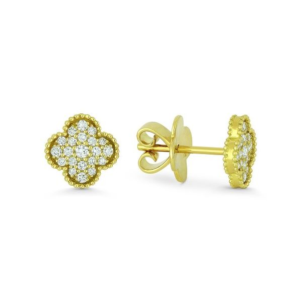 Yellow Gold and Diamond Stud Earrings Jae's Jewelers Coral Gables, FL