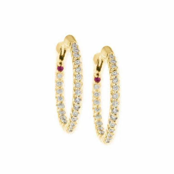 Yellow Gold and Diamond Hoops Jae's Jewelers Coral Gables, FL