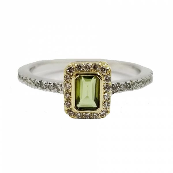 Green Tourmaline and Diamond Ring Jae's Jewelers Coral Gables, FL