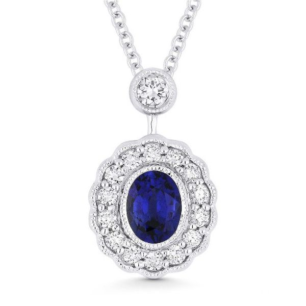 Vintage Inspired Blue Sapphire Necklace Image 2 Jae's Jewelers Coral Gables, FL