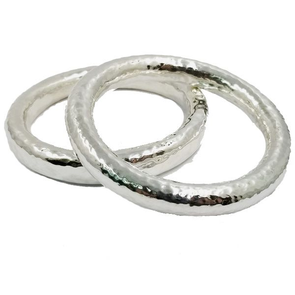 Silver Hammered Bangle Image 2 Jae's Jewelers Coral Gables, FL
