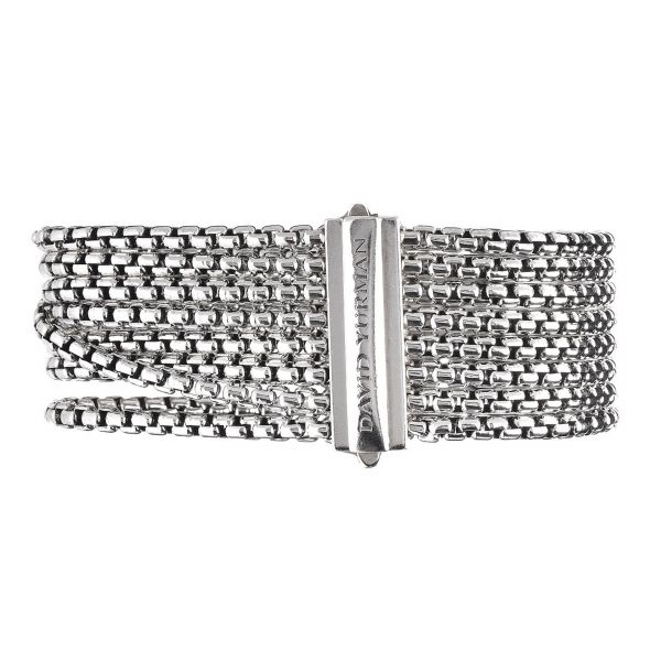 David Yurman Sterling Silver Box Row Chain with Diamond X Pave Bracelet Image 2 Jae's Jewelers Coral Gables, FL