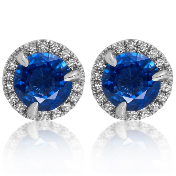 Sapphire Halo Stud Earrings Jae's Jewelers Coral Gables, FL