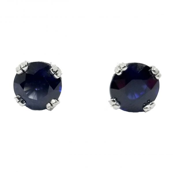 Sapphire Studs in Diamond Setting Image 2 Jae's Jewelers Coral Gables, FL