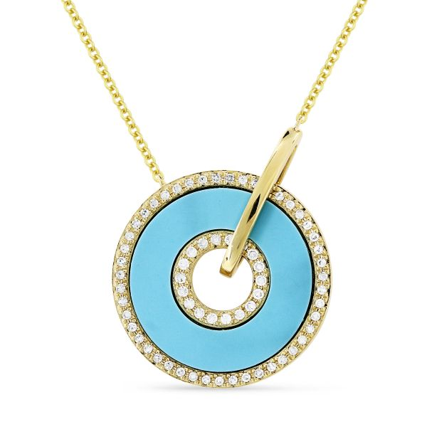 Turquoise and Diamond Circle Necklace Jae's Jewelers Coral Gables, FL