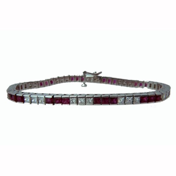 Princess Cut Ruby & Diamond Bracelet - White Jae's Jewelers Coral Gables, FL