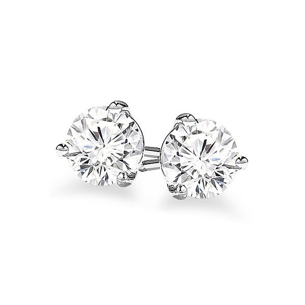 0.90 Carat Three Prong Diamond Stud Earrings Jae's Jewelers Coral Gables, FL