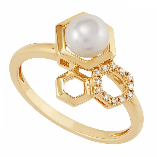 Trend Geometric Pearl and Diamond Ring Jae's Jewelers Coral Gables, FL