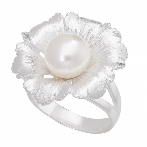 Fiore Flower Ring with Button Pearl Jae's Jewelers Coral Gables, FL