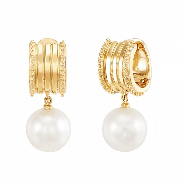 Italia Yellow Gold and Pearl Earrings Jae's Jewelers Coral Gables, FL
