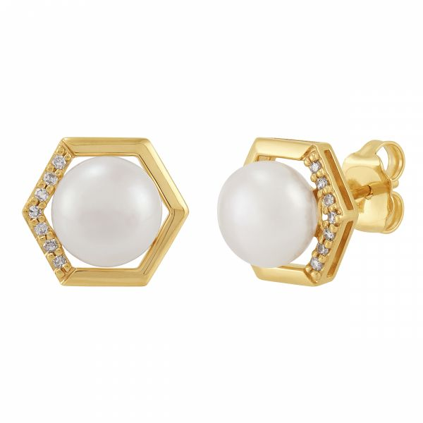 Trend Geometric Pearl and Diamond Earrings Jae's Jewelers Coral Gables, FL