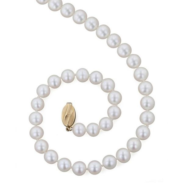 8mm 18 Inch White Pearl Necklace Jae's Jewelers Coral Gables, FL