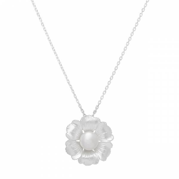 Fiore Sterling Silver Pearl Flower Necklace Jae's Jewelers Coral Gables, FL