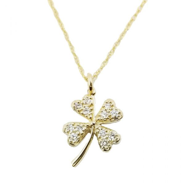 Gold Four Leaf Clover Necklace with Diamonds Jae's Jewelers Coral Gables, FL