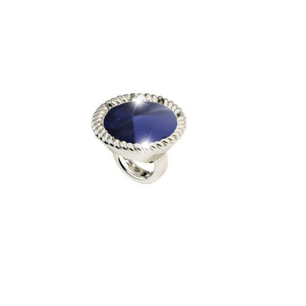 White Round Ring Charm with Blue Crystal Jae's Jewelers Coral Gables, FL